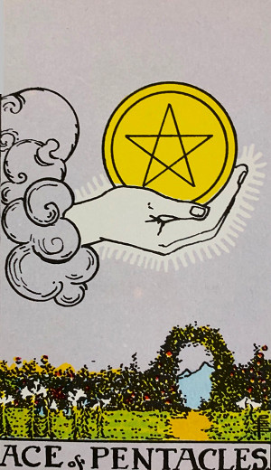 タロットカード『ペンタクルエース』 by占いとか魔術とか所蔵画像