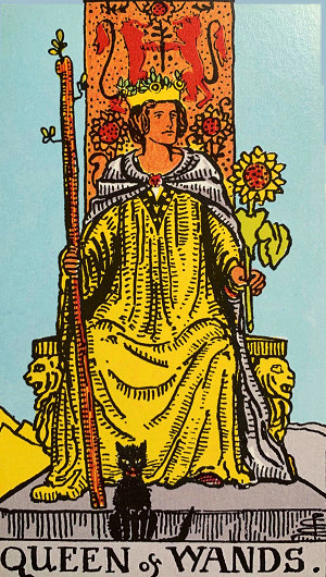 タロットカード『ワンドのクイーン』 by占いとか魔術とか所蔵画像