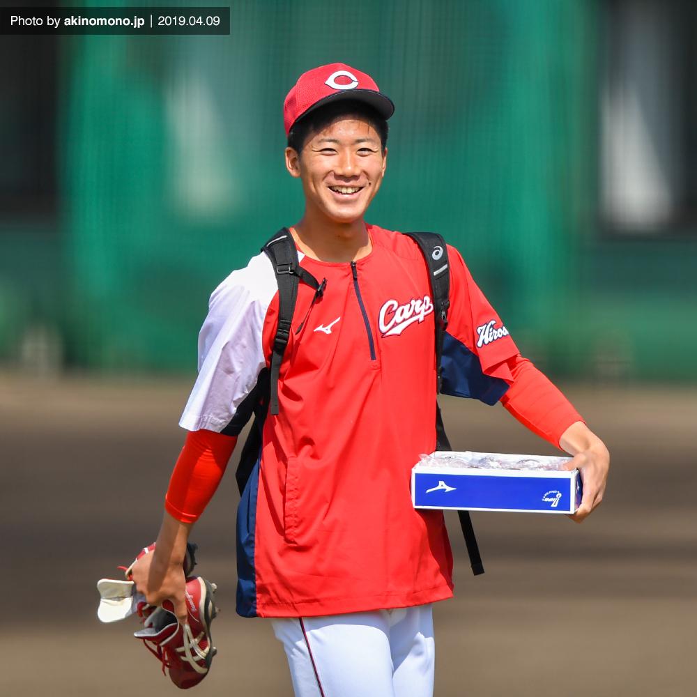 由宇練習場での山口翔投手(2019年)
