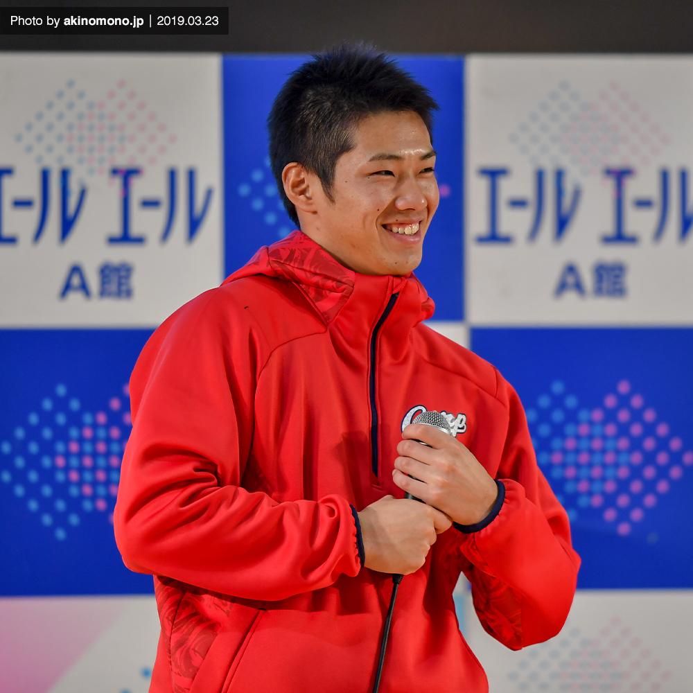 イベントに出演する中村奨成選手(2019)