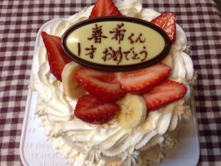 初誕生のばなないちごケーキ