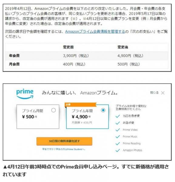 Amazonプライム会費値上げ_2019