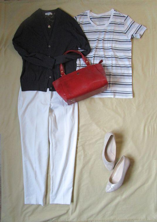無印良品ボーダーTシャツ  PLST白リネンパンツ PLST夏カーディガン (3)