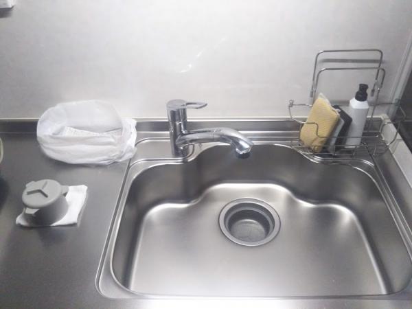 キッチン排水溝を綺麗に 2つ持ちしているもの リセットの様子