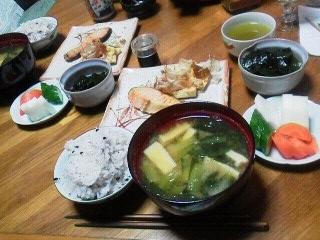190418鮭とお揚げ、黒米ご飯他和食