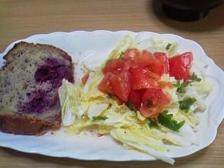 190613 ブラックベリーケーキ&庭のシソ入りサラダ
