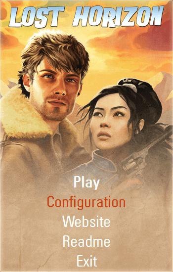 PC ゲーム Lost Horizon 日本語化メモ、ゲーム起動時のメニューから Configuration をクリックすると設定画面が開く