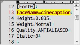 PC ゲーム Lost Horizon 日本語化メモ、フォント変更方法、data\localization フォルダにある fonts.ini を開き [Font0] セクションで指定されているフォント名を変更、ここでは FaceName=Teen から FaceName=cinecaption に変更