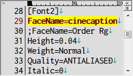 PC ゲーム Lost Horizon 日本語化メモ、フォント変更方法、data\localization フォルダにある fonts.ini を開き [Font2] セクションで指定されているフォント名を変更、ここでは FaceName=Teen から FaceName=cinecaption に変更