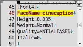 PC ゲーム Lost Horizon 日本語化メモ、フォント変更方法、data\localization フォルダにある fonts.ini を開き [Font4] セクションで指定されているフォント名を変更、ここでは FaceName=Teen から FaceName=cinecaption に変更