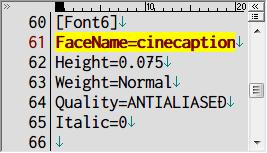 PC ゲーム Lost Horizon 日本語化メモ、フォント変更方法、data\localization フォルダにある fonts.ini を開き [Font6] セクションで指定されているフォント名を変更、ここでは FaceName=Teen から FaceName=cinecaption に変更