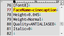PC ゲーム Lost Horizon 日本語化メモ、フォント変更方法、data\localization フォルダにある fonts.ini を開き [Font8] セクションで指定されているフォント名を変更、ここでは FaceName=Teen から FaceName=cinecaption に変更