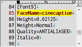 PC ゲーム Lost Horizon 日本語化メモ、フォント変更方法、data\localization フォルダにある fonts.ini を開き [Font9] セクションで指定されているフォント名を変更、ここでは FaceName=Teen から FaceName=cinecaption に変更