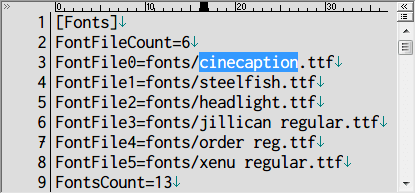 PC ゲーム Lost Horizon 日本語化メモ、フォント変更方法、data\localization フォルダにある fonts.ini を開き [Fonts] セクションで指定されているフォント名を変更、ここでは 3行目に teen.ttf を cinecaption.ttf に変更