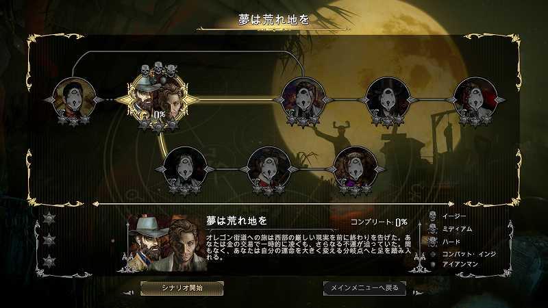 PC ゲーム Hard West 日本語化メモ、日本語化後のスクリーンショット