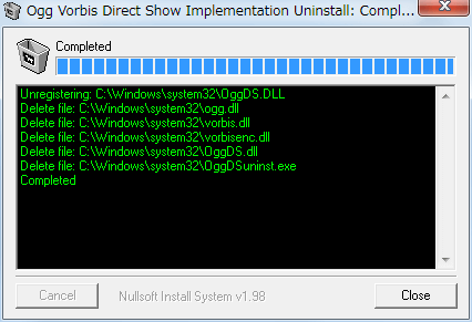 PC ゲーム Gone In November 日本語化メモ、Direct Show Ogg Vorbis Filter アンインストール方法、C:\Windows\sysWOW64\OggDSuninst.exe ファイルを実行して Direct Show Ogg Vorbis Filter をアンインストール