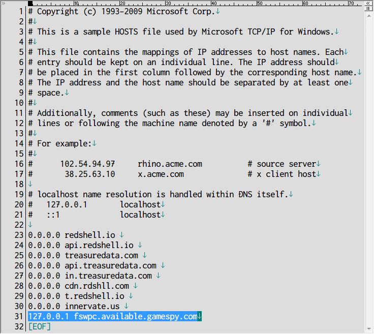 PC ゲーム Full Spectrum Warrior 日本語化とゲームプレイ最適化メモ、パフォーマンス改善、Windows\System32\drivers\etc フォルダにある hosts ファイルを開く、127.0.0.1 fswpc.available.gamespy.com を追記して保存