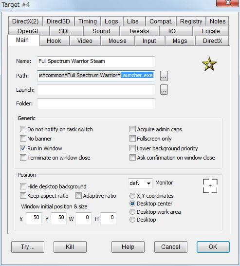 PC ゲーム Full Spectrum Warrior 日本語化とゲームプレイ最適化メモ、DxWnd を使ったウィンドウモード設定、DxWnd - Main タブ、Path に Launcher.exe を指定、Position の W と H は 0 のままで OK、モニター中央にゲーム画面を表示したい場合は Desktop center を選択
