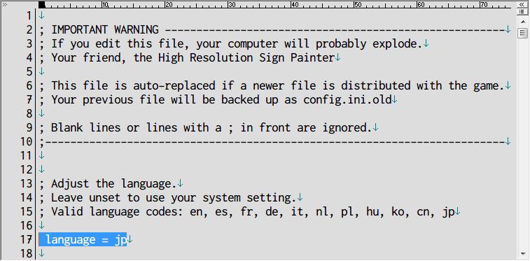 PC ゲーム World of Goo 日本語化メモ、GOG 版 World of Goo 日本語化方法、C:\Users\(ユーザー名)\AppData\Local\2DBoy\WorldOfGoo(%USERPROFILE%\AppData\Local\2DBoy\WorldOfGoo) フォルダにある config.ini ファイルで言語変更可能、行頭に ;(セミコロン) がない状態で language = jp になっていれば日本語表示になる、他の言語に変更した場合は 15行目の Valid language codes にあるコードに変更する
