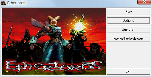 PC ゲーム Etherlords 日本語化とゲームプレイ最適化メモ、ウィンドウモード設定、AutoRun.exe を起動して Options ボタンをクリック、Full Screen のチェックマークを外す