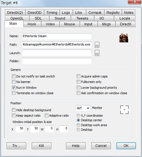 PC ゲーム Etherlords 日本語化とゲームプレイ最適化メモ、ウィンドウモード設定、DxWnd - Main タブ、Position の W と H は 0 のままで問題なし、モニター画面中央に表示したい場合は Desktop center を選択