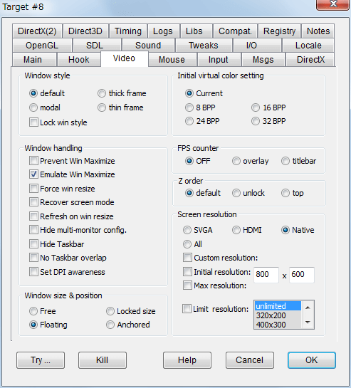 PC ゲーム Etherlords 日本語化とゲームプレイ最適化メモ、ウィンドウモード設定、DxWnd - Video タブ、Screen resolution は Native を選択