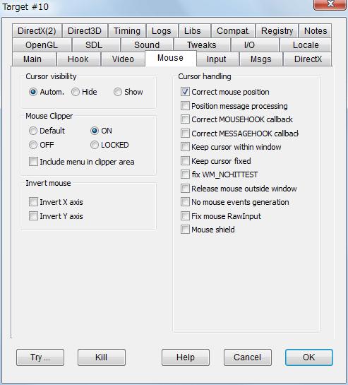 PC ゲーム Etherlords II 日本語化とゲームプレイ最適化メモ、マウスカーソルを画面外に出さないようにするには Mouse Clipper を ON、Alt + Tab による画面切り替えができないため注意