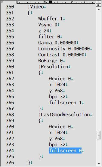 PC ゲーム Iron Storm 日本語化とゲームプレイ最適化メモ、Steam 版 Iron Storm 起動時に Error : Unable to initialise desired video mode error 0x88760827 発生、フルスクリーンでゲームを起動しようとしたときにエラー発生、settings フォルダにある user.cfg をテキストエディタで開く、374行目にある fullscreen 1 を 0 に変更して保存、ウィンドウモードで Steam 版 Iron Storm が起動するかどうか確認