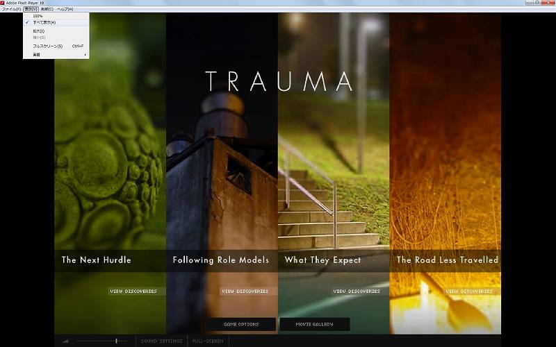 PC ゲーム Trauma 日本語化メモ、PC ゲーム Trauma ウィンドウモード化からフォント表示改善、ウィンドウサイズを大きくしてメニュー → 表示にある100%からすべて表示に変更