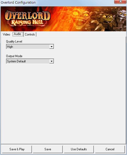 PC ゲーム Overlord、拡張パック Overlord Raising Hell 日本語化メモ、Configuration 画面 - Audio タブ、サウンドのクオリティとスピーカー設定