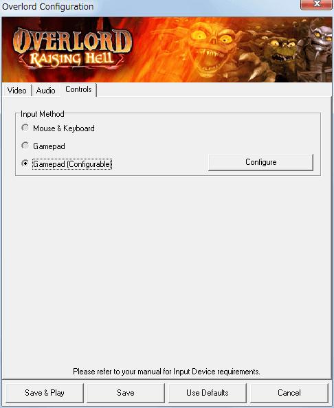 PC ゲーム Overlord、拡張パック Overlord Raising Hell 日本語化メモ、Configuration 画面 - Controls タブ、Input Method - Gamepad (Configurable)