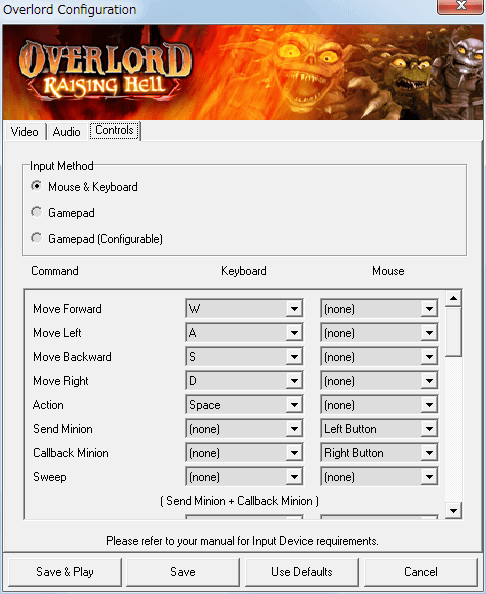 PC ゲーム Overlord、拡張パック Overlord Raising Hell 日本語化メモ、Configuration 画面 - Controls タブ、Input Method - Mouse & Keyboard