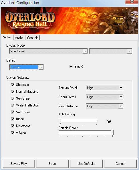 PC ゲーム Overlord、拡張パック Overlord Raising Hell 日本語化メモ、Configuration 画面 - Video タブ - Detail を Custom にするとグラフィックス設定変更可能