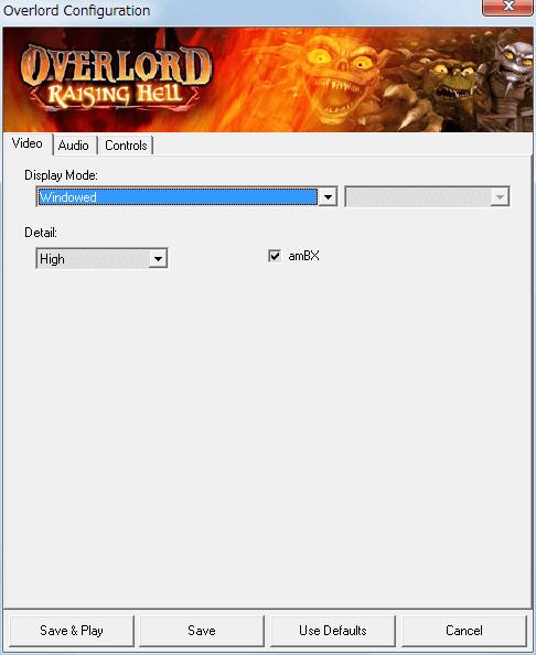 PC ゲーム Overlord、拡張パック Overlord Raising Hell 日本語化メモ、ウィンドウモード設定方法、Configuration 画面を開き Video タブにある Display Mode を Windowed に変更して Save ボタンをクリック