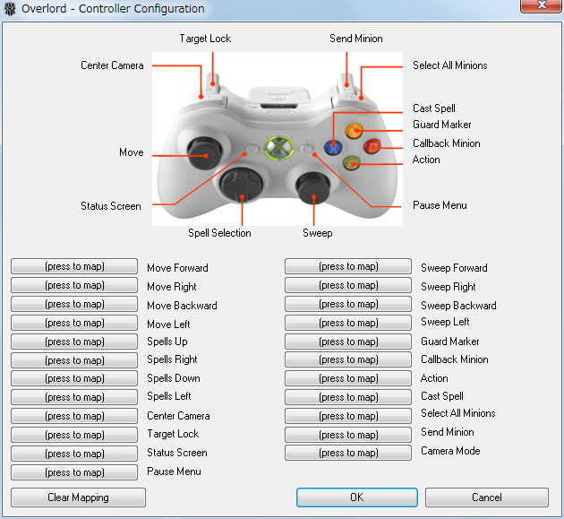 PC ゲーム Overlord、拡張パック Overlord Raising Hell 日本語化メモ、Overlord - Controller Configuration 画面(GamepadConfig.exe)