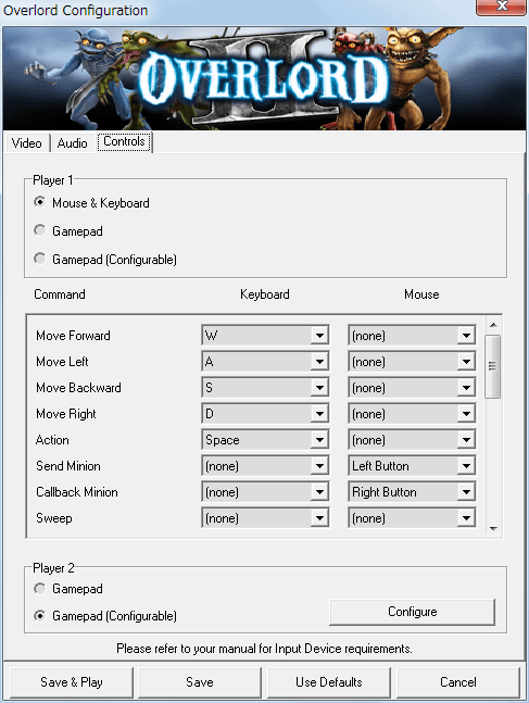 PC ゲーム Overlord II 日本語化メモ、Configuration 画面 - Controls タブ、Mouse & Keyboard