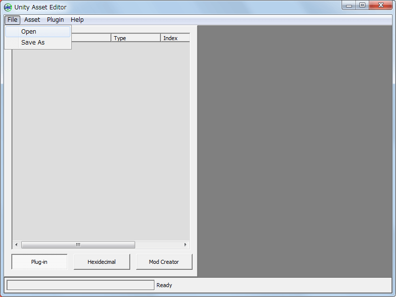 PC ゲーム Dead Effect 日本語化メモ、Unity Asset Editor UAE_0_3(BETA_3) ダウンロード、Unity Asset Editor.exe 起動、メニュー File → Opne をクリック