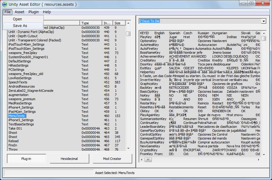 PC ゲーム Dead Effect 日本語化メモ、resources.assets にあるテキストファイルを差し換えて日本語化する方法、Unity Asset Editor UAE_0_3(BETA_3) ダウンロード、Unity Asset Editor.exe 起動、メニュー File → Opne をクリック、Dead Effect インストール先にある DeadEffect_Data フォルダに resources.assets ファイルを開く、SpeechTexts を右クリックして Import をクリック、日本語ファイルの SpeechTexts.txt を選択、MenuTexts を右クリックして Import をクリック、日本語ファイルの MenuTexts.txt を選択、メニュー Save as をクリックして resources.assets と名前を付けて保存