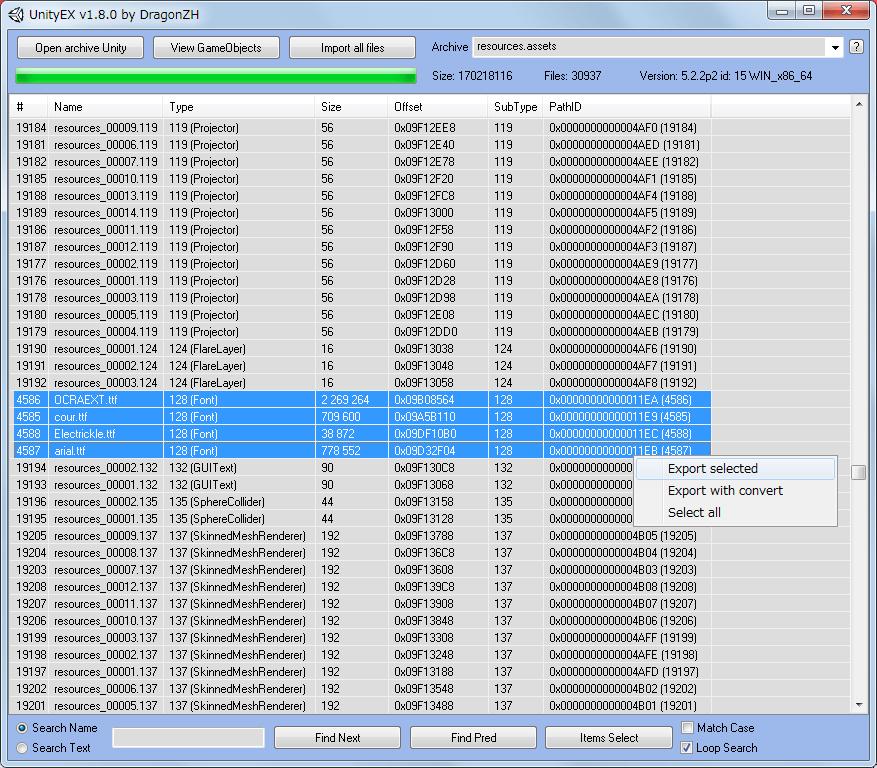 PC 版 Wasteland 2 Director's Cut フォント変更方法、UnityEX を使って assets ファイルにある ttf フォントをエクスポート・インポートする方法、Wasteland 2 Director's Cut インストール先 WL2_Data フォルダにある resources.assets を UnityEX で開く、UnityEX で resources.assets ファイルを開いたら、Type 列をクリックしてファイルをソート、Type 列で 128 (Font) の arial.ttf、cour.ttf、Electrickle.ttf、OCRAEXT.ttf を選択、右クリックで 「Export selected」 をクリック