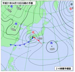 4月10日(水)9時の予想天気図