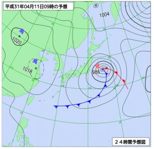 4月11日(木)9時の予想天気図