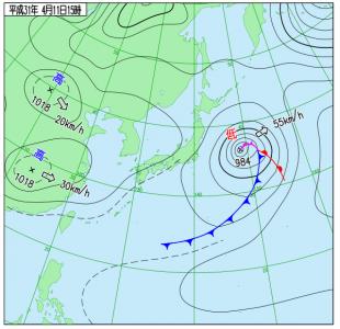 4月11日(木)15時の実況天気図