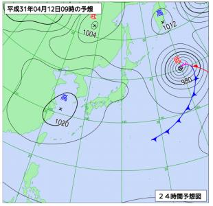 4月12日(金)9時の予想天気図