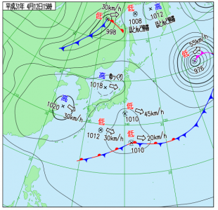 4月12日(金)15時の実況天気図