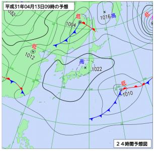 4月13日(土)9時の予想天気図