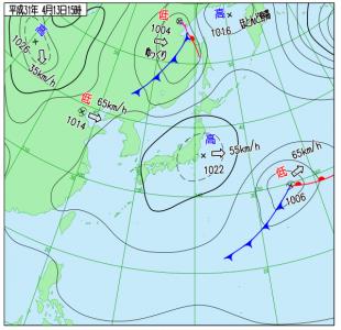 4月13日(土)15時の実況天気図