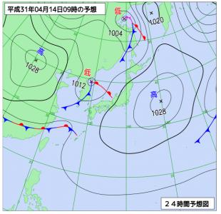 4月14日(日)9時の予想天気図