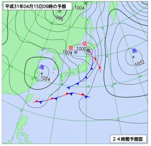 4月15日(月)9時の予想天気図