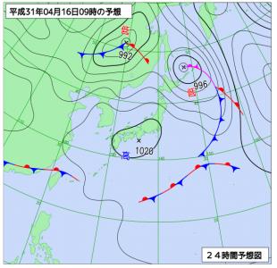 3月16日(火)9時の予想天気図