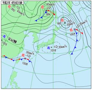 4月16日(火)15時の実況天気図